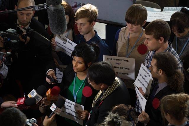 Anjali Appadurai speaking with members of the press. - Credit David Tong