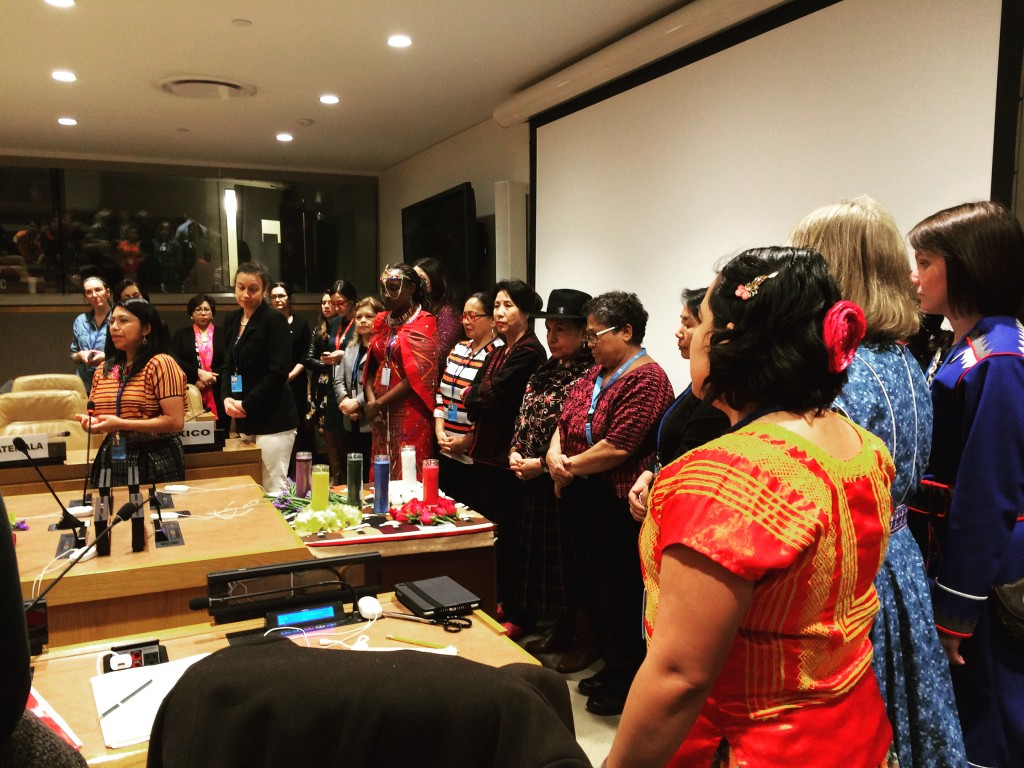 Teresa Zapeta, an indigenous leader from Guatemala, leading a ceremony in her native language at the 60th Commission on the Status of Women at the United Nations Headquarters in New York City this March. Photo by Rebecca Haydu