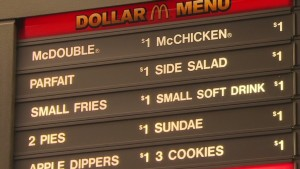 Cheap meat-centric meals at McDonalds in the US, credit: CNN http://money.cnn.com/2013/10/24/news/companies/mcdonalds-dollar-menu/