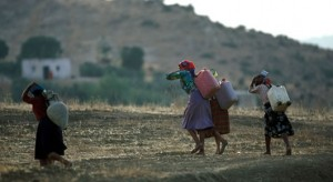 Women in Africa transport water in drought